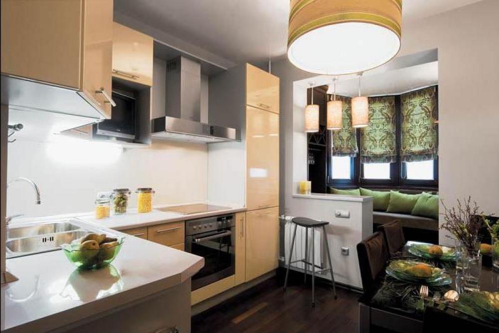 Дизайн двухкомнатной квартиры кухня объединенная с балконом.